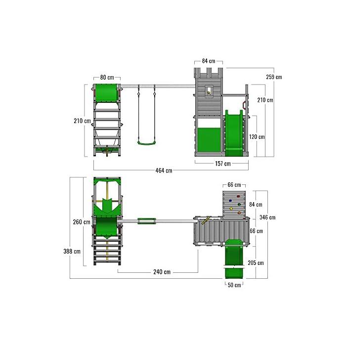 51lSfN%2BUlgL FATMOOSE Torre de escalada con SurfSwing, columpio doble y plataforma de juego grande - Calidad-y- seguridad verificadas Madera maciza impregnada en clave, de fácil mantenimiento - Viga de columpio de 9x9cm y postes verticales de 7x7cm Instrucciones de montaje detalladas para un montaje fácil - Cajón de arena integrado XXL - Plataforma 120cm