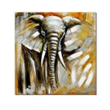 Redland Art Oil Paintings On Canvas Africa Female Elephant Artwork Framed Stretched Ready to Hang for Home Wall Decor (12x12inch)