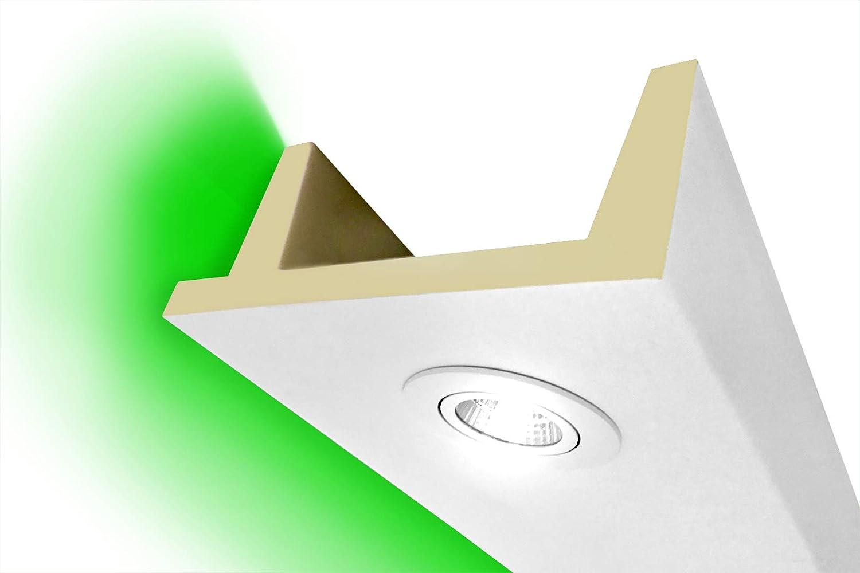 lichtundurchl/ässiges Profil Hexim LED Stuckleisten f/ür indirekte Beleuchtung 80x80mm PU sto/ßfeste 2 Meter Leiste LED-15