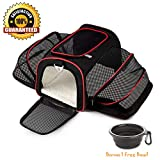 La Gracery Expandable Pet Carrier for Small Dogs, Cats, Kittens and Puppies - Two Side Expansion Foldable Airline Approved Kennel Crate Portable Soft-Sided Pet Travel Bag