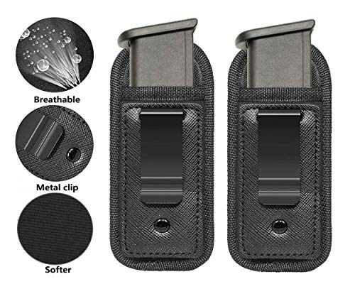TACwolf New 2pc Universal Magazine Holster IWB 9mm .40 .45 Mag Holster for Glock 19 43 17 Sig 1911 S&W M&P Fits 7 10 15 Round Clips Gun Ammunition Holster Pouch (17 Round Magazine M&p 9mm)