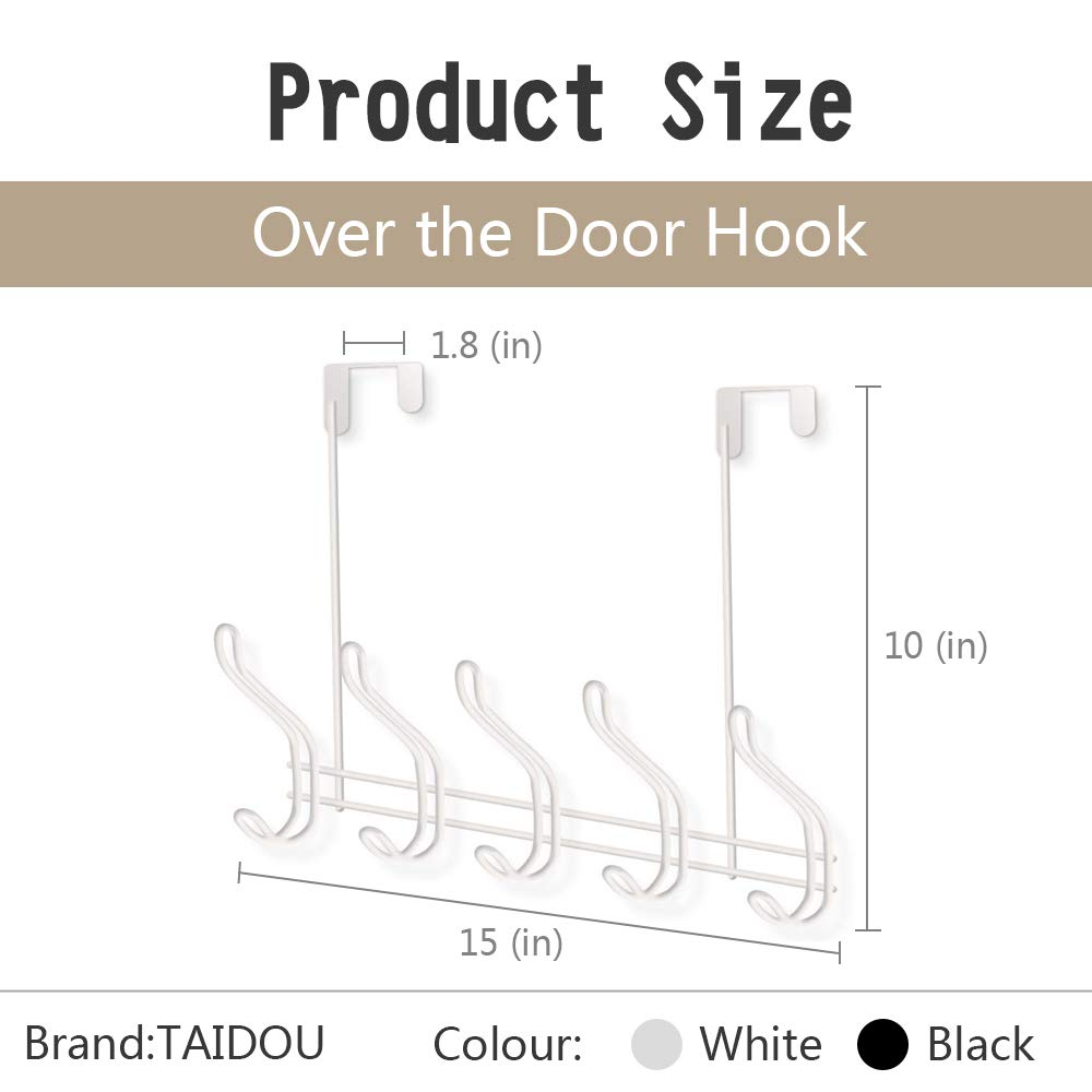Over Door Hook - 5 Coat Hooks Pegs - No Drill Towel Rack for Bathroom Storage Closet - Behind The Door Organizer Clothes Rack - Shoe Or Hat Holder - Office Cubicle Purse Hanger - Brick White by TAIDOU (Image #3)