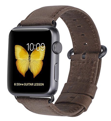 JSGJMY Apple Watch Band 42mm Men Women Premium Vintage Genuine Leather Replacement Strap for iWatch Series 2 Series 1 Edition Sport(42mm Grey+Black Buckle)