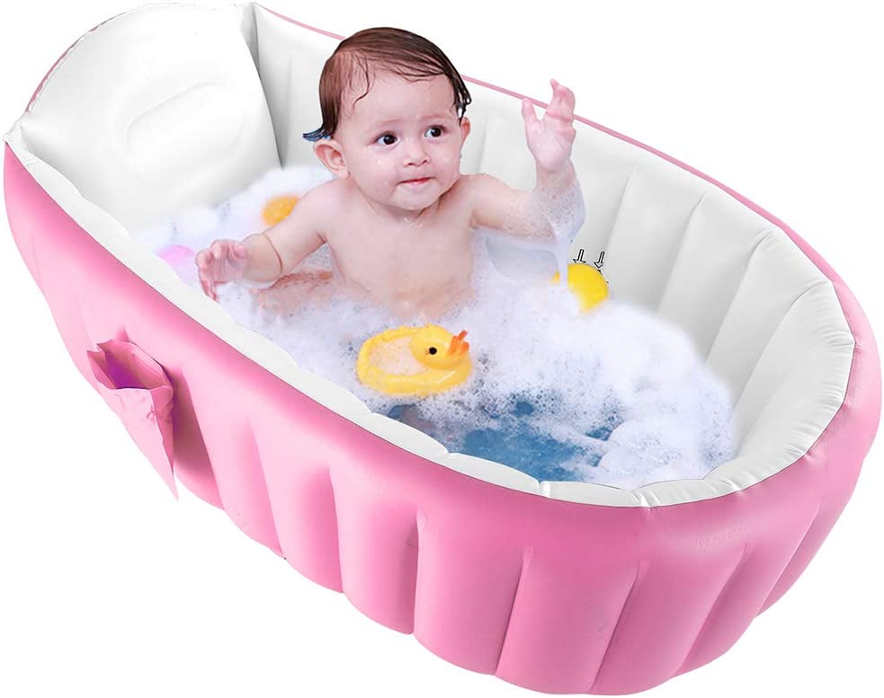 WETERS Piscina Inflable, baño del bebé de Seguridad de la Cuenca de la bañera Inflable Plegable Piscina al Aire Niño de hidromasaje Sin colchón Que amortigüe la Bomba de Aire del pie,Rosado