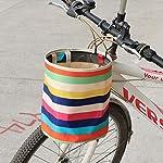 LIOOBO-Cestino-della-Bicicletta-Tela-Impermeabile-Anteriore-Manubrio-Bicicletta-Arcobaleno-Motivo-a-Strisce-Cestini-Pieghevoli-con-Gancio-Accessori-Bici-per-Lo-Shopping-in-Bicicletta