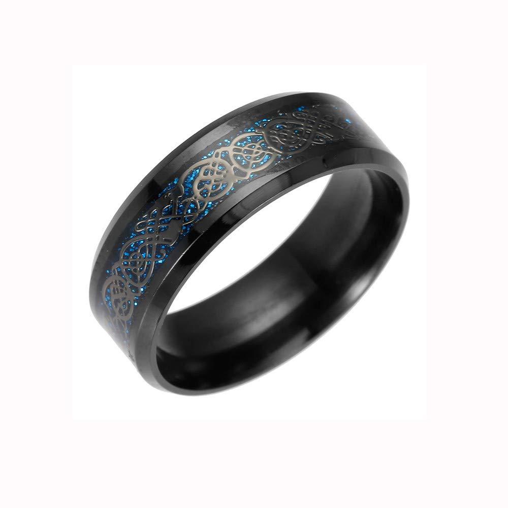 Tuu Titanium Steel Ring Printed with Dragon Women Men Fashion Stainless Rings Jewelry (8, Black)