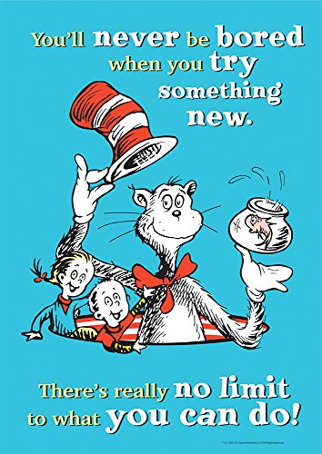 Eureka Dr. Seuss Cat in The Hat 'Try Something New' Classroom Poster, 13'' W x 19'' H]()