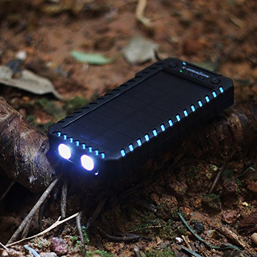 Solar Charger X DRAGON 15000mAh vitality Bank easily transportable Dustproof Shockproof parallel USB Solar Panel Battery Charger with the help of parallel tremendously shiny LED light resource for iPhone Samsung Galaxy and much more Blue Solar Chargers