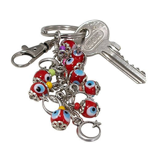 Bunch of Good Luck Evil Eye Beads Keychain Decorative Silver Plated Greek -Turkish … (Moon & Star) - Eye Good Luck Charm Keychain