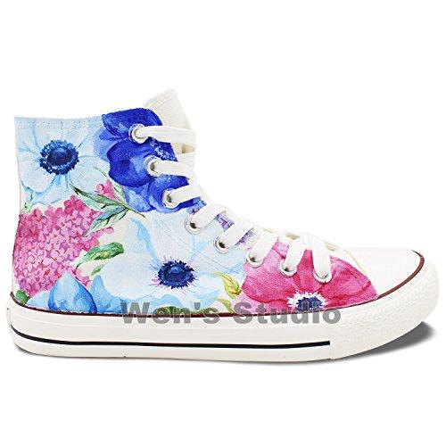 Wen Watercolour Bloemen Bloem Handgeschilderde Origineel Ontwerp Canvas Vrouwelijke Sneakers