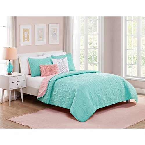 CA 4 Piece Girls Turquoise Blue Pineapple Themed Quilt Twin Set, Coral Pink Pine Apple Bedding Hawaiian Fruit Embroidered Pattern Hawaii Tropical Beach Maui Oahu Classic, Polyester Microfiber
