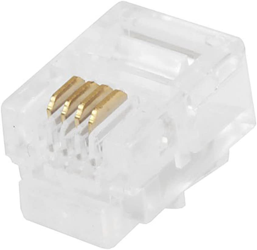 Computer Cables New 100PCS Durable 4 Core Telephone Network Connectors RJ11 6P4C Modular Plugs Connector Cable Length: Other