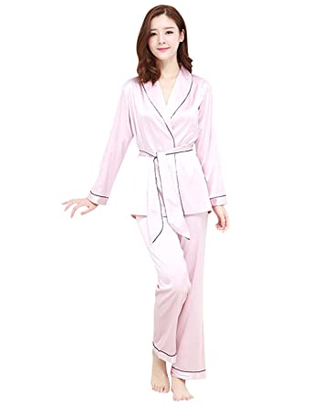 7b0ee0741bd9 Camowuz Silk Comfort Long Sleeve Fashion Pj Women Pajamas Set Purple Medium