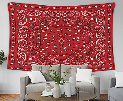 Pamime Easter Home Decor Tapestry for Red Bandana Print Wall Hanging Tapestries for Dorm Room Bedroom Living Room 60x60 Inches(150x150cm) Bedspread InHouse ()