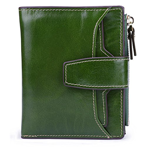 AINIMOER Women's RFID Blocking Leather Small Compact Bi-fold Zipper Pocket Wallet Card Case Purse (Waxed Green) - Green Flat Wallet