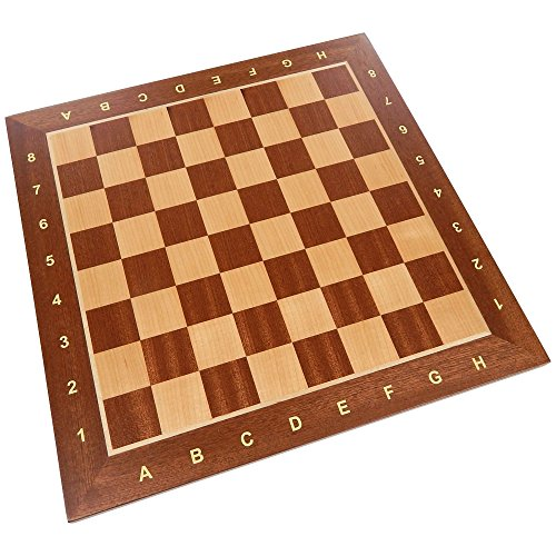 Requa Chess Board with Inlaid Wood and Ranks and Files (Numbers and Letters on Side) - Board Only – 15 Inch ()