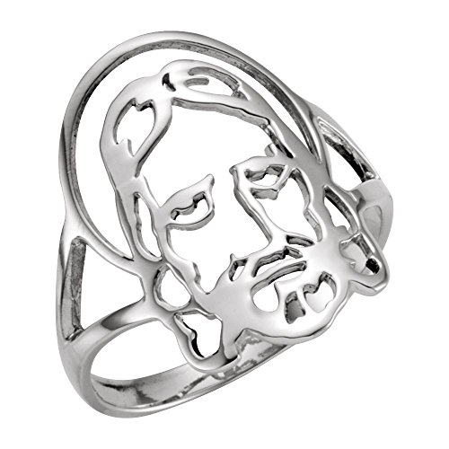 Jewels By Lux 925 Stamped Sterling Silver Men's Polished Face Of Jesus Chastity Ring Size 10 ()
