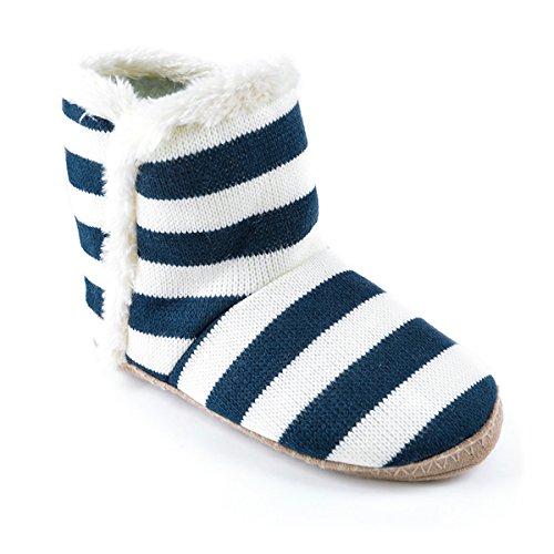 Slumberz Veste en tricot à rayures Chaussons Pantoufles, bleu marine/crème, Taille 3/4