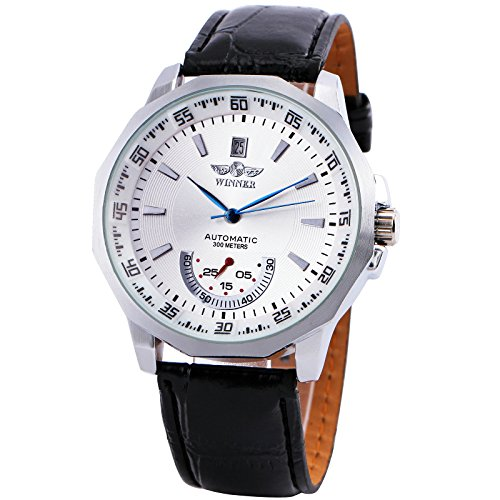 German Mechanical Watches (WINNER Men Classic Automatic Mechanical Wristwatch Leather Strap Silver Calendar Dial Second Sub Dial +BOX)