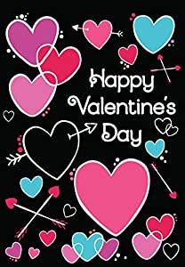 Feliz día de San Valentín bandera de Jardín doble cara