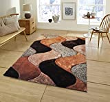 All New Contemporary Solid Colored Silky Touch MultiColor Tufted 3D Shag Rugs by Rug Deal Plus (5' x 7', Brown/Beige)