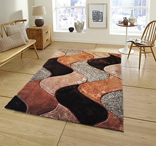All New Contemporary Solid Colored Silky Touch MultiColor Tufted 3D Shag Rugs by Rug Deal Plus (5' x 7', Brown/Beige) by Rug Deal Plus