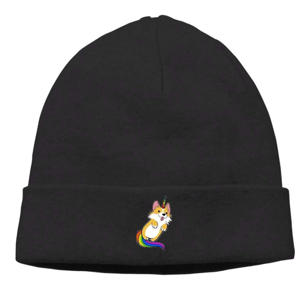 nordic runes Unicorn Corgi Dog Beanie Hat Winter Warm Knit Skull Cap for Mens//Womens
