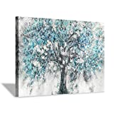 """Abstract Tree Canvas Wall Art: Blue Tree Picture Painting Print for Bedroom (36""""X24"""")"""