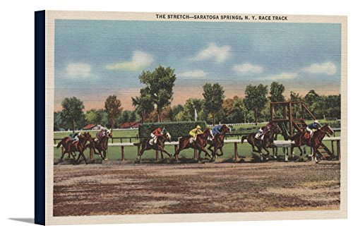 Saratoga Springs, NY - Horse Race Track Scene (36x22 3/4 Gallery Wrapped Stretched (Saratoga Race)