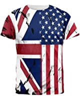 British UK American USA Flag All Over Mens T Shirt