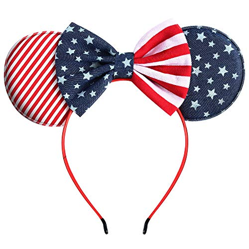 Mouse Ears Bow Headbands, Glitter Party 4th