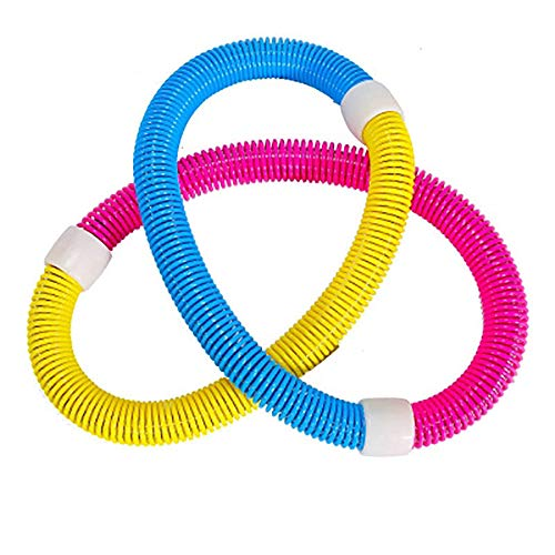ZZSH Women's Thin Waist Weight Loss Aggravated Colorful Hula Hoop, Aerobic Tri-Color Shrinkable Spring Soft Hula Hoop Entertainment and Fitness,Blue