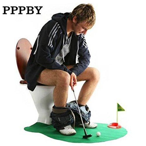 Toilet Golf,Pppby Bathroom Golf Potty Putter Putting Mat Golf Game