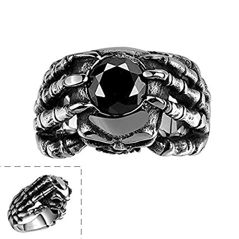 Focus Jewel Men's Punk Rock Style Sharp Eagle Claw Black Resin Stone with Frontal Skull Head Gothic - Heavy Mens Wedding Band