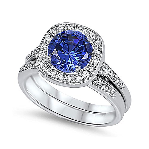 Sterling Silver Simulated Deep Blue Color Solitaire Wedding Ring Set 12MM ( Size 5 to 10 ), 8 (Deep Blue Sapphire Diamond)