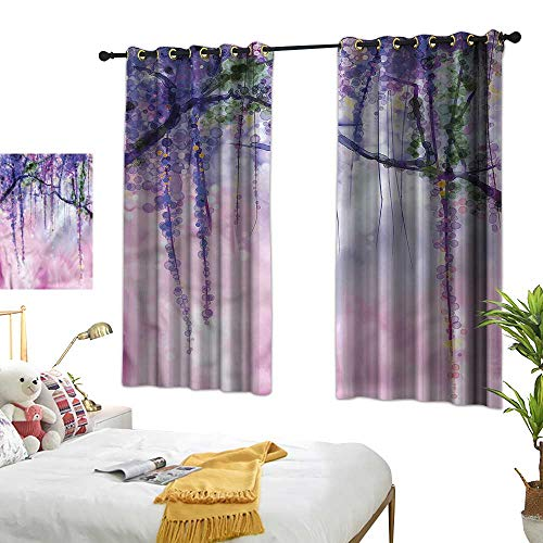 Black Curtains Watercolor Flower,Wisteria Meadow 84
