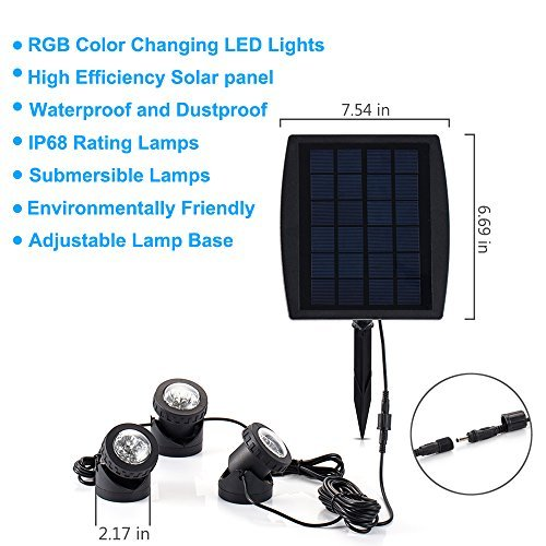 18 LEDs Solar Powered Super Bright 3 Submersible Lamps RGB Color Changing Landscape Spotlight Projection Light for Garden Pool Pond Outdoor Decoration & Lighting, Underwater Light (18 Led Submersible Light)