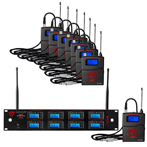 Nady 8W-1KU GT Octo True Diversity 1000-Channel Professional UHF Microphone Wireless System with 8 Guitar/Instrument Bodypacks – AutoScan – Automatic Transmitter Pairing – All Metal ()