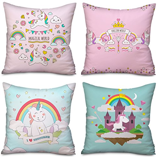 4 Pack Unicorn Pillow case Cushion Covers Home Decor, Unicorn gifts Christmas Thanksgiving Halloween 18 x 18 Inches Two Sides Cute Pillow Cover Case Sofa Decorative (4 Pack Unicorn-C)