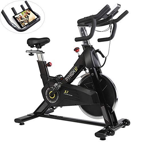PYHIGHIndoor Cycling Bike-48lbs Flywheel Belt Drive Stationary Bicycle ExerciseBikes with LCD Monitor for Home Cardio Workout BikeTraining- Black (Black) (Black)