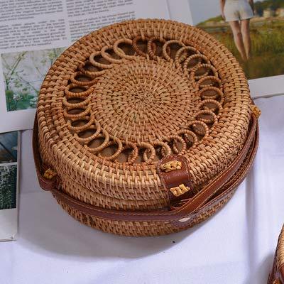 (Round Straw Beach Bag Vintage Handmade Woven Shoulder Bag Raffia Circle Rattan Bags Bohemian Summer Vacation Casual Bags (quanquan20x8cm))