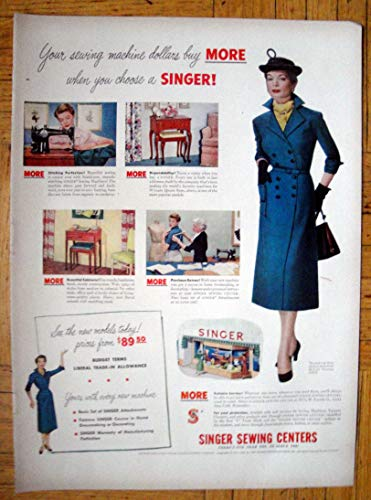 Vintage Ads Appliance (1950 Singer Sewing Centers-More For You Dollar -Original 13.5 * 10.5 Magazine Ad)