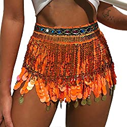 Belly Dance Hip Scarf In Orange With Hanging Sequins