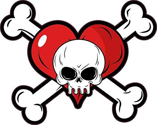 5x4 Heart Skull and Crossbones Sticker Vinyl Window Decal Bumper Stickers Decals