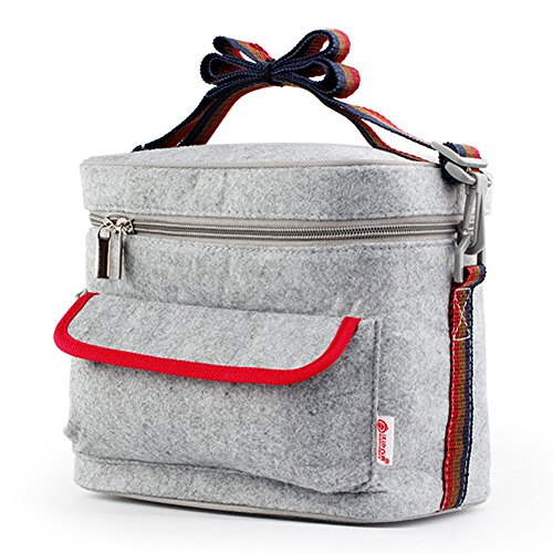 Containers Tote Bags - Mr.Dakai Portable Rectangle Insulated Lunch Box Bag, Thermal Food Picnic Lunch Bags for Women / Men /Kids (Gray) ()