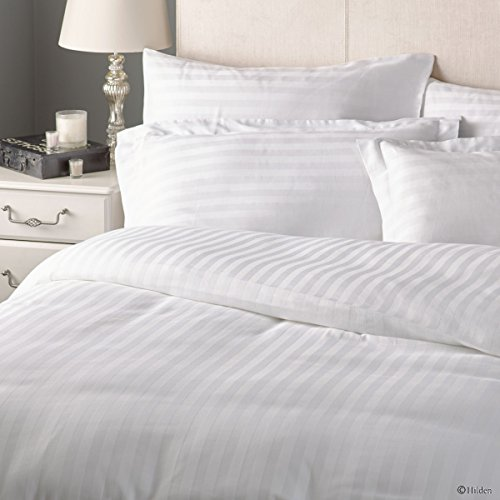 Duvet Cover with Zipper Closure Premium Range Egyptian Cotton 600 Thread Count Striped By Kotton Culture (Luxurious and Hypoallergenic) (Full / Queen, White)