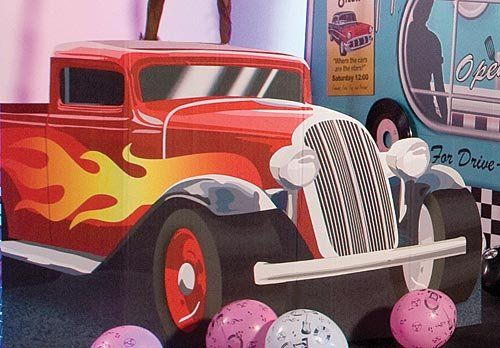 Hot Rod Truck Standee 50s Fifties Standup Photo Booth Prop Background Backdrop Party Decoration Decor Scene Setter Cardboard Cutout