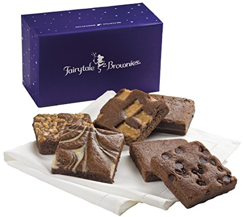 Fairytale Brownies Brownie Half-Dozen Gourmet Food Gift Basket Chocolate Box - 3 Inch Square Full-Size Brownies - 6 Pieces