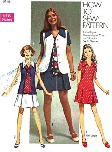 1970s Mini (Simplicity vintage sewing pattern 8615 pleated mini dress and vest - Size 16)