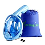 WONICE Snorkel Mask Full Face for Kids,180°Panoramic View Anti-Fog, Anti-Leak with Adjustable Head Straps,Compatible and Detachable GoPro Snorkeling & Swimming Mask